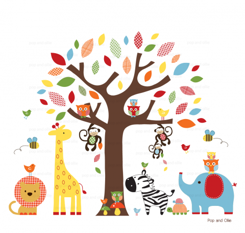 Bright Pattern Leaf Tree and Jungle Animals - Die Cut Wall Decals