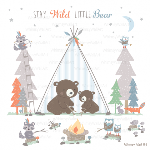 Camping Bears Wall Decals