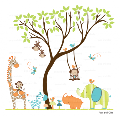 Bright Pattern Safari Animals and Leaf Tree - Die Cut Wall Decals