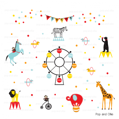 Circus Animals with Circus Banner, Fesrris Wheel, and 50 Mixed Dots - Die Cut Wall Decals
