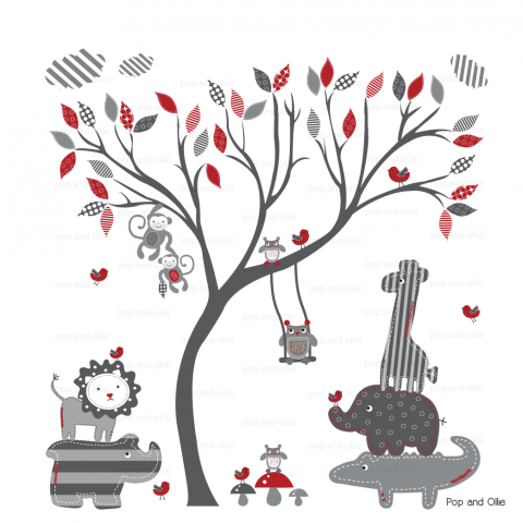 Grey and Red Modern Baby Pattern Leaf Tree and Jungle Animals - Die Cut Wall Decals