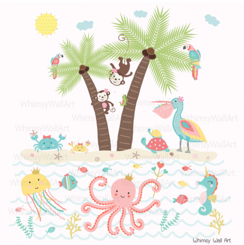 Pastel Sea Life Wall Decals