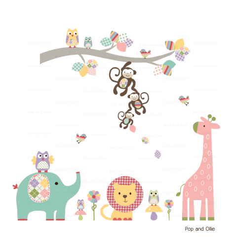 Pastel Pattern Jungle Animals with Branch - Die Cut Wall Decals