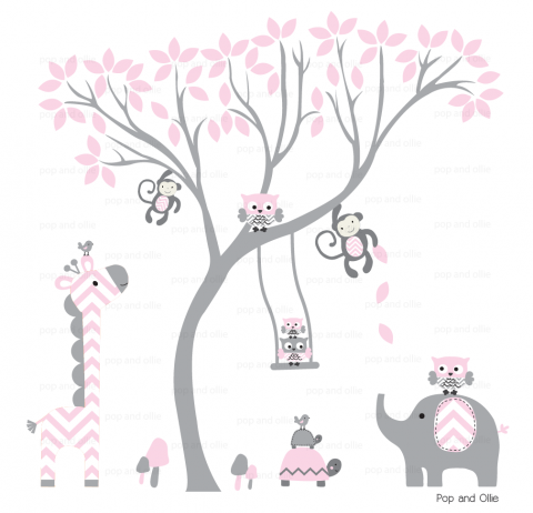 Grey and Light Pink Chevron Pattern Tree and Jungle Animals - Die Cut Wall Decals