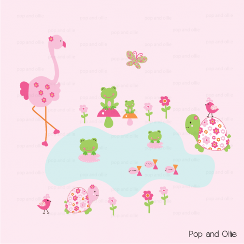 Floral Flamingo Wall Decals