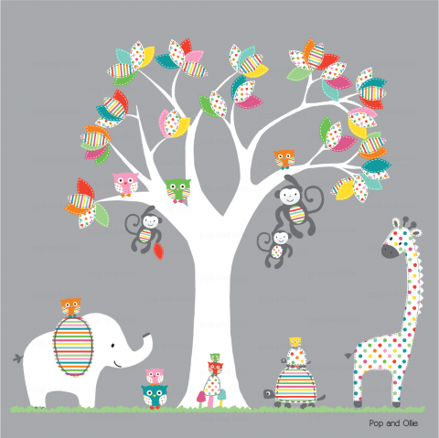 Bright Rainbow Pattern Leaf Tree and Jungle Animals
