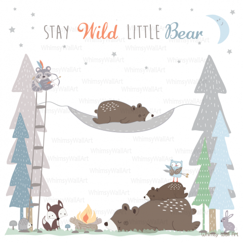 Sleepy Bears Campsite Wall Decals