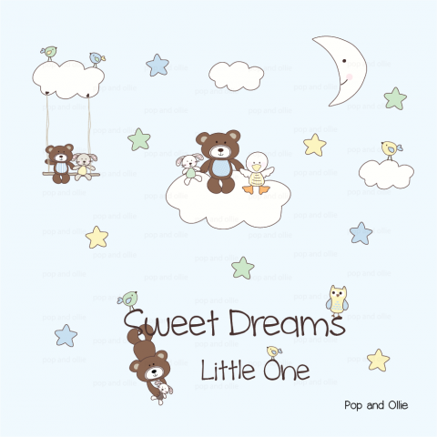 Fluffy Sheep with Moon, Stars, and Quote - Die Cut Wall Decals