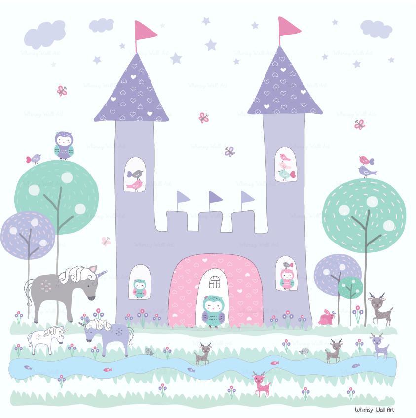 Castle and Unicorns Wall Decals