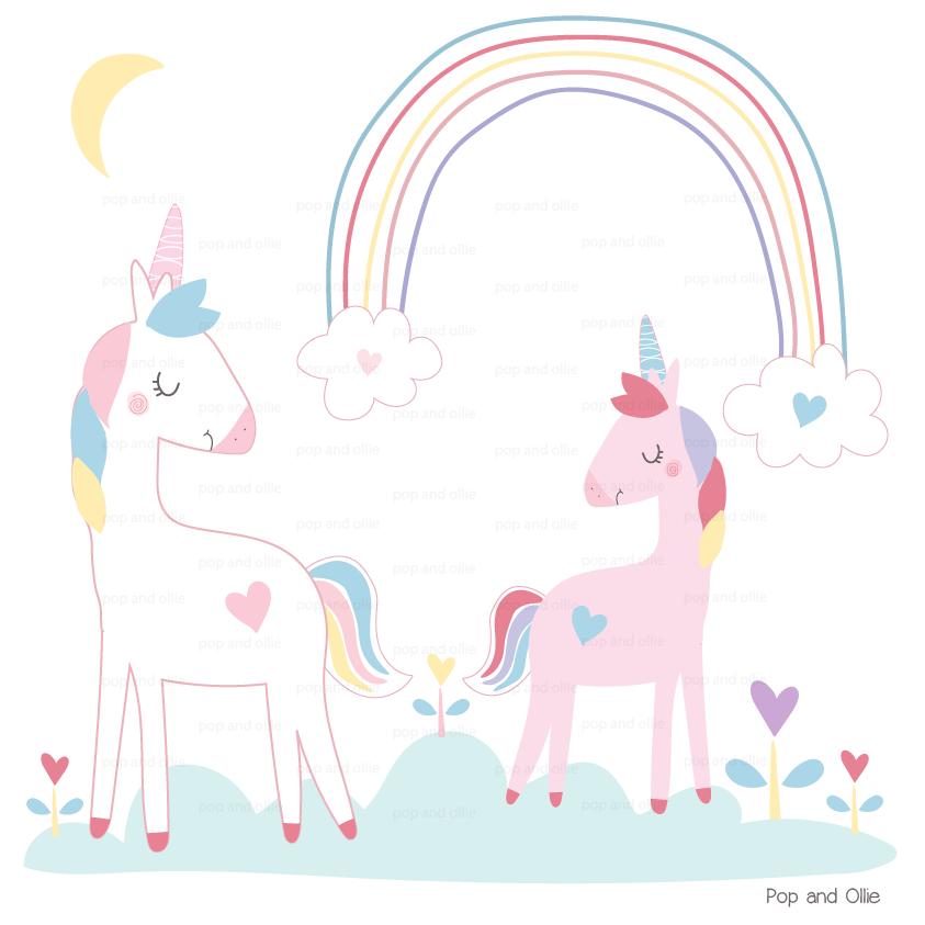 Rainbow Unicorns Wall Decals