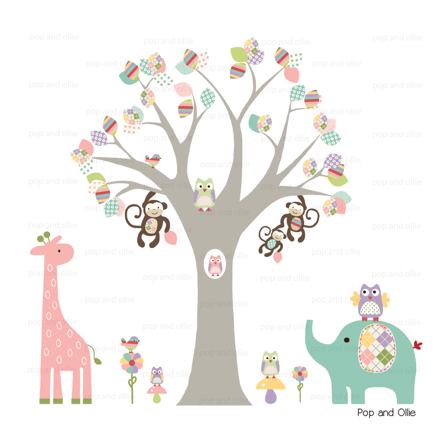 Pastel Jungle animals and Pattern Leaf Tree - Die Cut Wall Decals