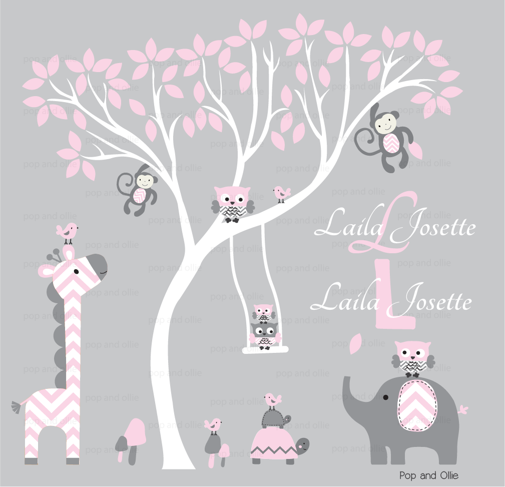 Grey and Light Pink Chevron Pattern White Tree and Jungle Animals - Die Cut Wall Decals