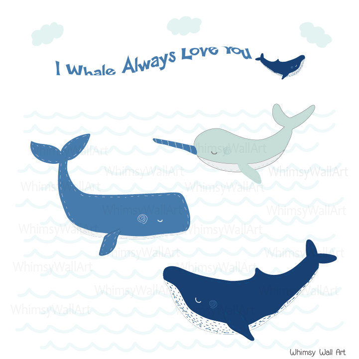 Whimsical Whales Wall Decals
