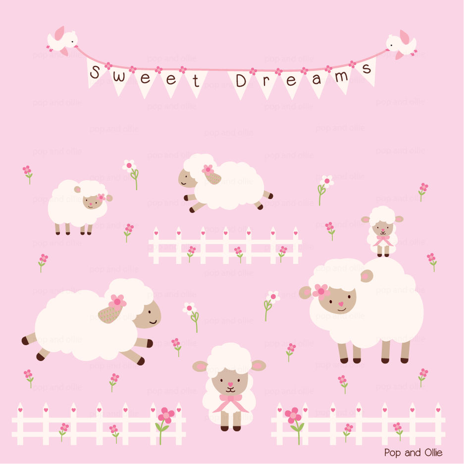 Neutral Theme Sheep - Die Cut Wall Decals