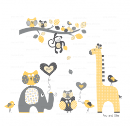 Grey and Yellow Pattern Jungle Animals with Branch - Die Cut Wall Decals